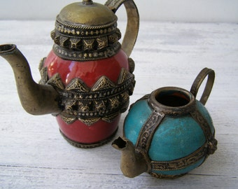 Moroccan Decorative Small Teapots, Turquoise Red Teapot Figurines, Vintage Ethnic Collectible Pottery Art, Brass Ceramic Miniature Pitchers