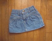 Vintage OSHKOSH MINI SKIRT Hipster Kid Baby Toddler | Denim, Faded (12 Months)