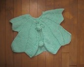 Vintage MINT GREEN PONCHO Hipster Kid Baby Toddler | Chevron with Pom-Poms, Knit (18 Months)