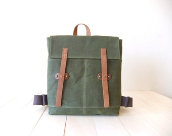 Waxed Canvas Backpack in Olive Green -Father Days Gift - Mini Backpack - Leather Accessories - Netbook- Waterproof Bag