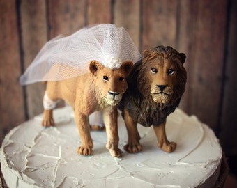 Lion And Lioness King Queen Wedding Cake Topper Jungle Lions