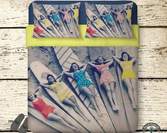 Surfer Girls Duvet Set   Beach Chic   Duvet + 2 Pillow Cases   Custom Bedding   All Sizes   USA Made   Fade Resistant