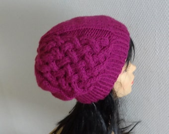 womens beanie hat - knit cable Beanie - Knit hat chunky hat Knit women hat Winter Fall accessories Knit Cable hat  - fuchsia or any color