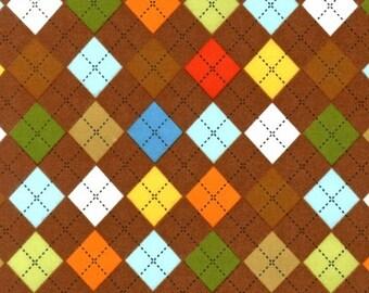 Chocolate Brown Remix Argyle FLANNEL From Robert Kaufman