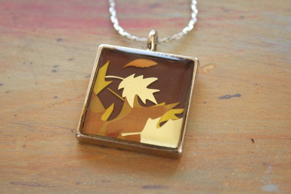 Recycled Jewelry, Resin Jewelry, Upcycled Jewelry, Custom Pendant (Gold leaves)