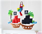 Pirate mobile - Pirate themed nursery children decor - Pirate ship - pirate parrot - treasure island