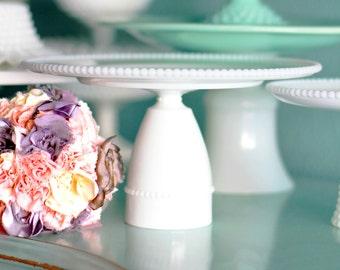 Milk Glass Cake Stand / Vintage Cake Plate / Dessert Pedestal / Cake Pop Stand for Cake Pops Cake Balls /  Milk Glass Pearls / Wedding Gift