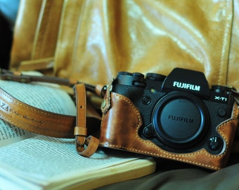 Cow leather case for Fujifilm X-T1/ XT1 xt1 x-t1 include leather full case and leather strap