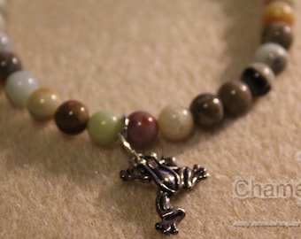 Agate Beaded Bracelet with Frog Charm