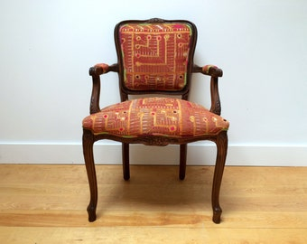 Vintage Chair Upholstered in Antique Phulkari and Citrus Check Silk