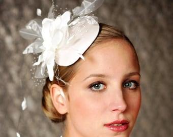 BIRDCAGE VEIL , ivory wedding hat, bridal hat. Fascinator, headpiece with amazing wedding flower.