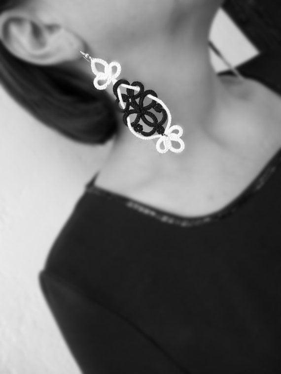 "Tatting earrings ""Black and White ""- handmade jewelry - lace earrings - Bridesmaid - OOAK - Wedding -gift for birthday - Christmas gift"