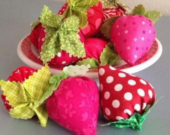 Custom Fresh Fabric Strawberries - 1 Dozen Handmade Berries in Pinks and Reds