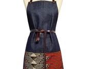 Denim and Wax Print Bib Aprons with Leather Straps (Chevron)