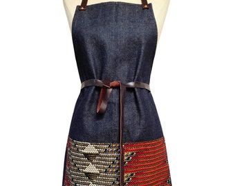 Denim and Wax Print Bib Aprons with Leather Straps (Chevron)