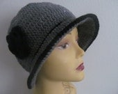 Gray Cloche Hat With Black Flower, Usa Seller