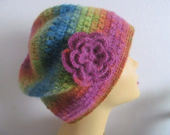 Rainbow Slouchy Beanie Hat With Flower, Beanie Hat With Flower