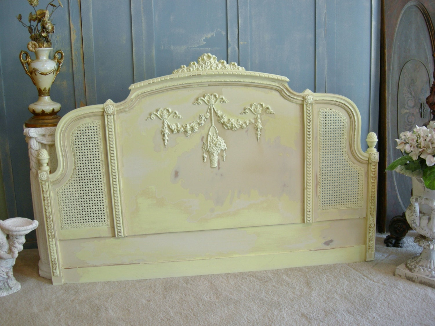 Painted Antique Headboard Roses Cane Bed By Redbarnestates