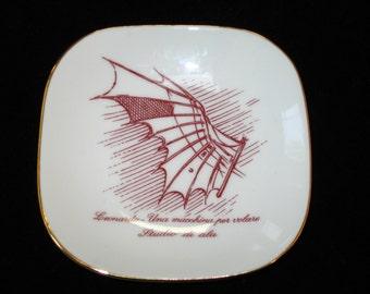 Alitalia Airlines Richard Ginori Porcelain Pin Tray Dish Leonardo Da Vinci Flying Machine - Transportation Memorabilia