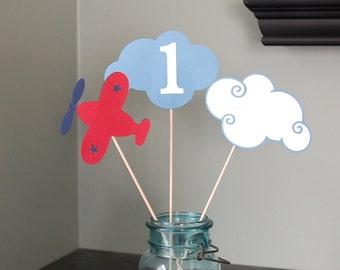 Airplane Centerpieces, Take Flight, Airplane Birthday, 9 , Red, Blue, Navy