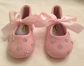 Baby Rhinestone Shoes (many colors) Swarovski Crystal leather shoes great GIFTS