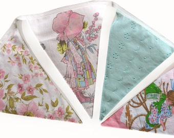 Holly Hobbie and Friends Vintage Floral Flag Bunting. Party, Banner Decoration or Girls Bedroom Pennant . GIFT IDEA