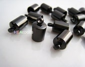 Finding - 20 pcs Gunmetal Black Leather Cord Ends Cap with Loop For Round Leathers 12.5mm x 7mm ( inside 6mm Diameter )