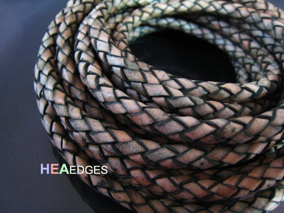Leather Cord 6mm - Vintage Brown Round Braided Bolo Genuine Leather Cord ( Hole Inside )