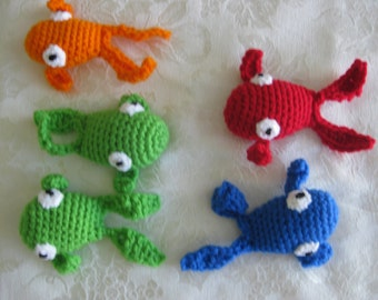 ONE fish, Two fish, Red fish Blue Fish  5 fish in orange, green red and blue