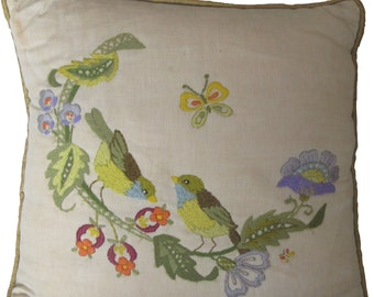 Crewel Embroidered Birds Pillow