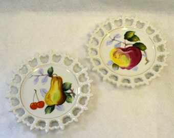 Set of Two Vintage Mid Century Hand Painted Collectible Porcelain Fruit Plates Pear Cherry Apple Made in Japan Lace Edge