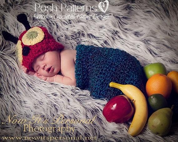 Crochet Pattern - Baby Crochet Patterns - Crochet PATTERN - Newborn Caterpillar Hat and Cocoon Pattern Set - Photo Prop Pattern