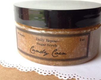 CANDY CORN Scented Sugar Scrub Organic Sugar Body Polish Vegan 8 oz