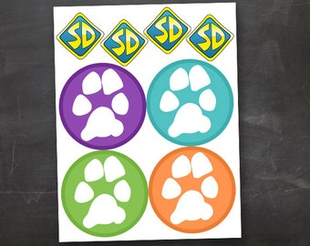 Dog Tag Accents & DIY Paw Print Scooby Banner  Printable JPEG PDF Purple Green Orange Blue