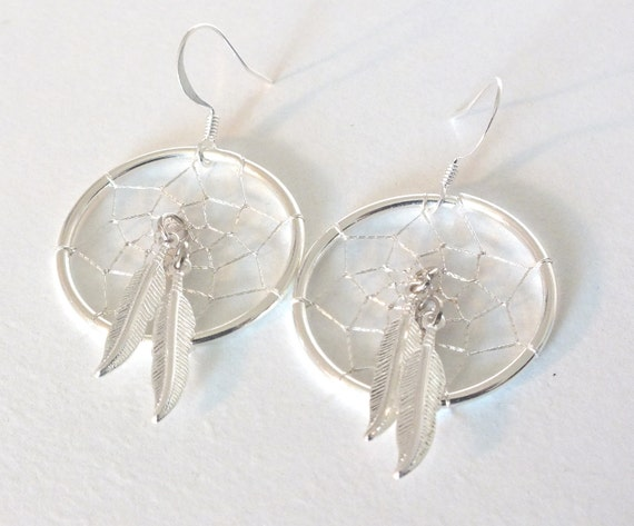 Twin Feather Native American Inspired Dreamcatcher Earrings