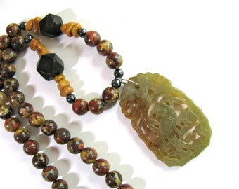 Green necklace, vintage carved serpentine pendant, Mustard Agate, Horn beads, earthy necklace, beaded necklace, gemstones 117