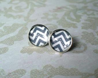 20% OFF --- Gray And White Pacman Wave Stud earrings,modern fashion stud earrings,Cute Gift Idea