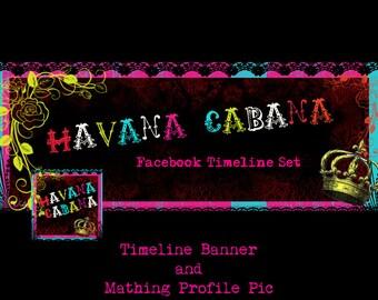 "Facebook Timeline Cover and Avatar ""Havana Cabana "" - Pre-made Bright, Colorful, Wild Design"