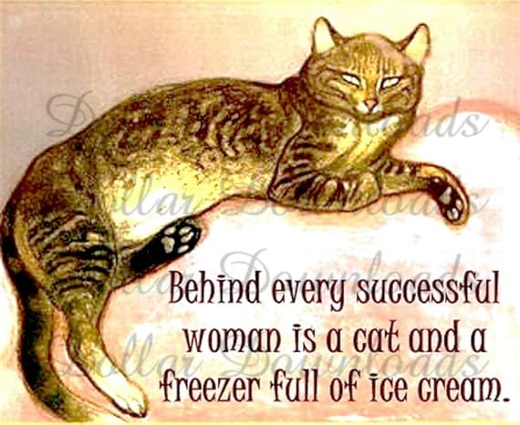 Tabby Cat Quote Behind Every Successful Woman Digital Image Download No. 511