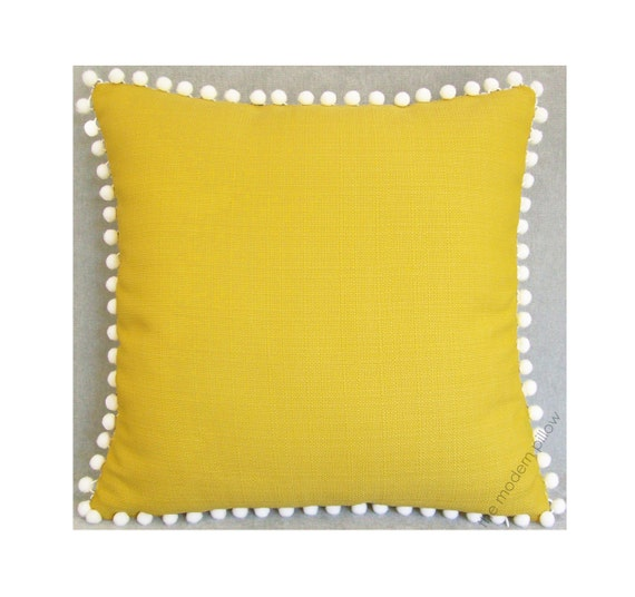 Yellow Linen Throw Pillow : yellow metro linen pom pom decorative throw pillow cover
