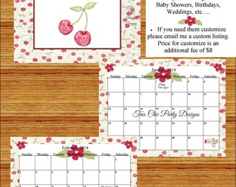 2015-16 Calendar, printable calendar, 2015 printable calendar, 2016 calendar, cherries, country cherries, print your own calendar, calendar