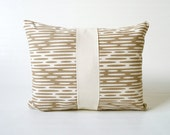 "Eco Friendly Screen Printed Pillow Cover 16x12"" neutral mushroom brown"
