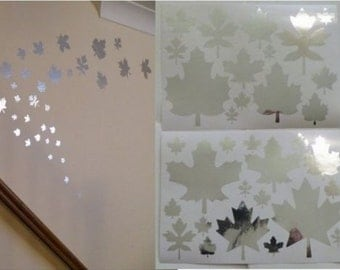 Mirror Leaves Wall Stickers 2 sheets of A4