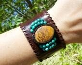 SALE! Leather Cuff Bracelet Elephant Skin Jasper and TURQUOISE Macrame Semi Precious Stone Bracelet - Sleek Style