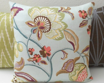 Multicolor blue, purple and green floral linen decorative pillow cover