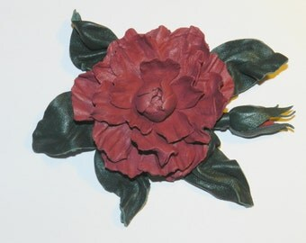 Bbrooch from natural leather Nr.49! Flower brooch like rose!
