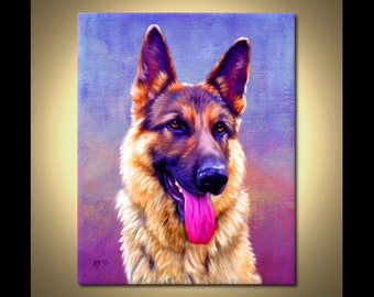 German Shepherd Portrait | Custom German Shepherd Portrait | German Shepherd Painting From Your Photos | German Shepherd Art Iain McDonald