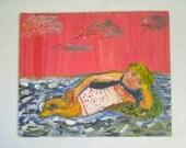 VTG Sunbather Portrait Oil Painting, Vintage Contemporary Art, Vintage Modern Art, seaside art, beach art, nautical art