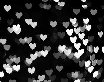 abstract photography black and white wall art heart photography bokeh print 8x10 8x12 modern fine art photography geometric monochrome love