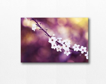 Nature photography Flower Canvas print cherry blossom art fine art photography floral canvas wall art botanical art print plum purple gold